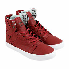 Supra Skytop Mens Burgundy Textile High Top Lace Up Sneakers Shoes