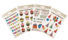 3D Happy Birthday Embellishments Craft Card Making Self Adhesive Stickers Seals