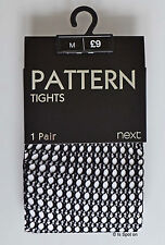 BNWTNextBlack Open Fish Net Patterned Tights, Size M, RRP£9