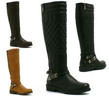 LADIES KNEE HIGH FLAT HEEL QUILTED RIDING WOMENS LEATHER LOOK BIKER BOOTS SIZE