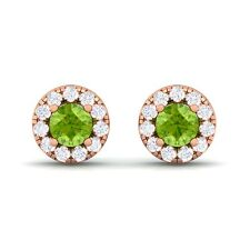 Green Peridot FG SI Diamond Gemstone Womens Halo Stud Earring 10K Gold