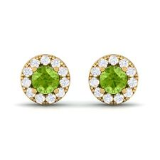 Green Peridot FG SI Diamond Gemstone Womens Halo Stud Earring 18K Gold