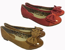 NEW WOMENS TAN BROWN CORAL PATENT SUEDE BOW ROUND TOE FLAT DOLLY BALLERINA SHOES