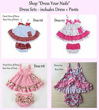Baby  Toddler Sling Sun Dress + Pant Ruffle Frill Set Part opened back
