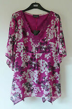 BNWT M&S Per Una Pink Mix Floral Floaty Top, Fully Lined, 10 12 14 RRP£39.50
