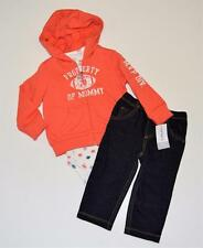 NEW Baby Boys 12 18 Mo Carter's 3 Piece Outfit Snap Shirt Hoodie Jeans Football
