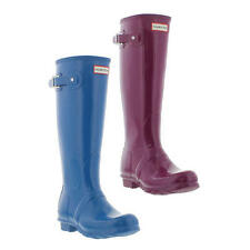 Hunter Wellies Original Tall Gloss Womens Purple Blue Wellington Boots Size 4-8