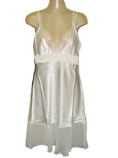 NWT PLAYBOY BUNNY RUFFLE LACE SATIN SILKY SEXY CHEMISE SLEEP NIGHT GOWN M, L