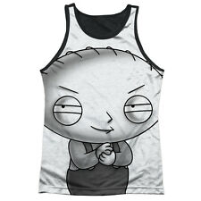 Family Guy Stewie Head Mens Tank Top Sublimation Black Back Shirt WHITE
