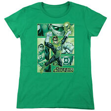 Justice League Green Lantern Panels Womens Short Sleeve Shirt Kelly Green
