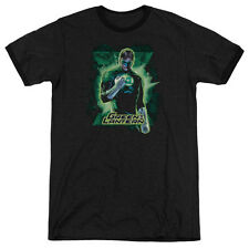 Justice League Green Lantern Brooding Mens Adult Heather Ringer Shirt Black