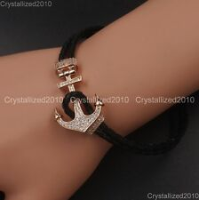 Zircon Pave Anchor Lock Clasp For 3mm Leather Cord Bracelet Silver Gold Gunmetal