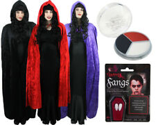 HALLOWEEN CAPE WITH HOOD VELOUR UNISEX FANCY DRESS COSTUME BLACK RED OR PURPLE