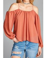 Open Cold Shoulder Blouse Top New S M L Dusty Salmon Sexy Spring Summer