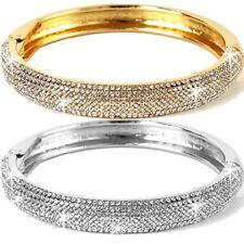 ROSE GOLD OR SILVER Micro Pave Set Crystal Cz Cuff Statement Bangle Bracelet NEW
