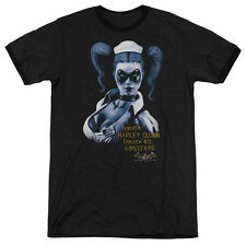 Batman Aa Arkham Harley Quinn Mens Adult Heather Ringer Shirt Black