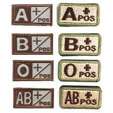 Military Blood Type A, B, O, AB Embroidered Hook Patch Tactics Armband Badge 2X