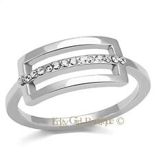 Women's Round Cut CZ High Polish 316L Stainless Steel Buckle Ring Size 6-8