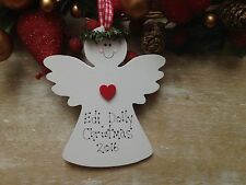 Personalised Baby`s First 1st Christmas Tree Decoration Angel Bauble Gift Sign