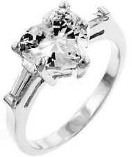 SILVER or GOLD Heart Cut Channel Set Baguette Cz Engagement Wedding Band Ring