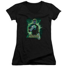 Justice League Green Lantern Brooding Juniors V-Neck Shirt Black