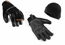 SCRUFFS LEATHER TRIM WORK / SITE GLOVES & WARM WINTER THINSULATE BEANIE HAT