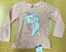 Baby Girl Pink Long Sleeve Top with Disney Aristocats Marie Cat