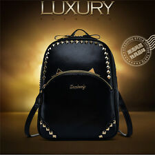 Vintage Rivets Backpack Travel PU Leather Outdoor Handbag Rucksack Shoulder Bag