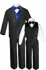 Baby Toddler Boys Black Satin Lapel Suit Tuxedo EXTRA colored Bow Tie Vest Set