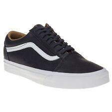 New Mens Vans Blue Old Skool Leather Trainers Plimsolls Lace Up
