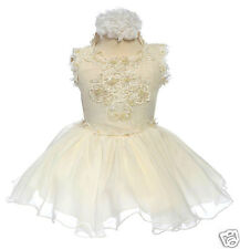 NEW BABY INFANT & GIRL NATIONAL PAGEANT FORMAL PARTY SHORT DRESS IVORY 2-6 YEARS
