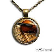 Glass Dome Bezel Pendant + Necklace Violin Music Musician PR103