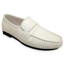Climate X 21592-2 Mens White Leather Slip On Dress Loafers Shoes