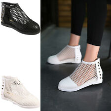 Women Sexy Perforated Wedge Cut Out Rivets Zippers Heel Sandals Shoes Size NEW