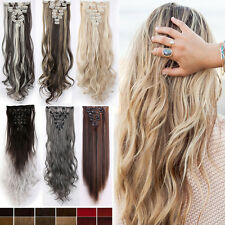US Women Long Straight Clip in Hair Extentions 8Pcs Full Head Hair Extension F2N