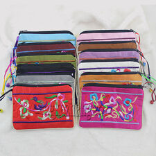 wholesale Nw MIX colors zipper embroider silk Jewelry bags handbag pouchese