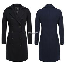 Double Breasted Women Wool Jacket Trench Coat Long Parka Turn Down Collar FT