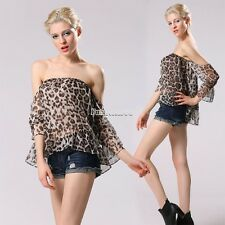 Casual Women Sexy Leopard 3/4 Sleeve Strapless Off Shoulder Tops Chiffon FT