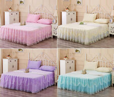 Lace Princess Valance Bed Skirt Fitted Sheet Twin Queen King Size(No Pillowcase)
