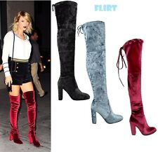Womens Faux Velvet Over Knee Boot Shoes Block High Heel Lace Thigh Stretch Boots