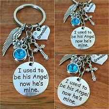 I used to be his angel now he's mine -  In Memory of my dad son granddad Keyring