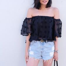 Womens Ladies Coit Ruffled Off-Shoulder Top- Black Clothing Fashion