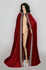 Medieval Renaissance Cape Cloak Handmade Velour Velvet for Men Women with Hood