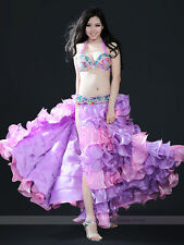 Performance New Belly Dance Costume Outfit 3PCS Bra&Belt&Skirt 34B/C 36B/C 38B/C