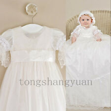 Baby Baptism Gown For Girl Boy Lace Applique Infant Bow-Knot Christening Dresses