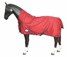 NEW MEDIUM LIGHT WEIGHT TURNOUT HORSE RUGS 100G FILL HIGH NECK - ALL SIZES - RED