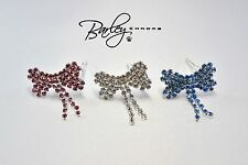 Rhinestone Bow Dog Cat Pet Hair Barrettes Clips - Blue, Clear or Pink