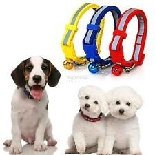 Pet Dog Puppy Cat Kitten Soft Glossy Reflective Collar Safety Buckle&Bell FT
