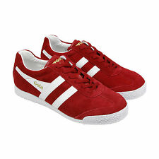 Gola Harrier Suede Mens Red Suede Lace Up Trainers Shoes