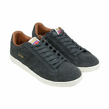 Gola Equipe Suede Mens Black Suede Trainers Lace Up Shoes